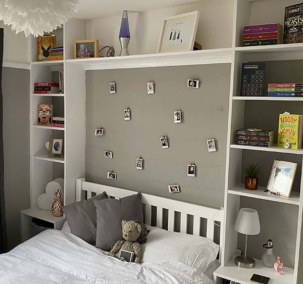 Bedroom storage and feature wall.
