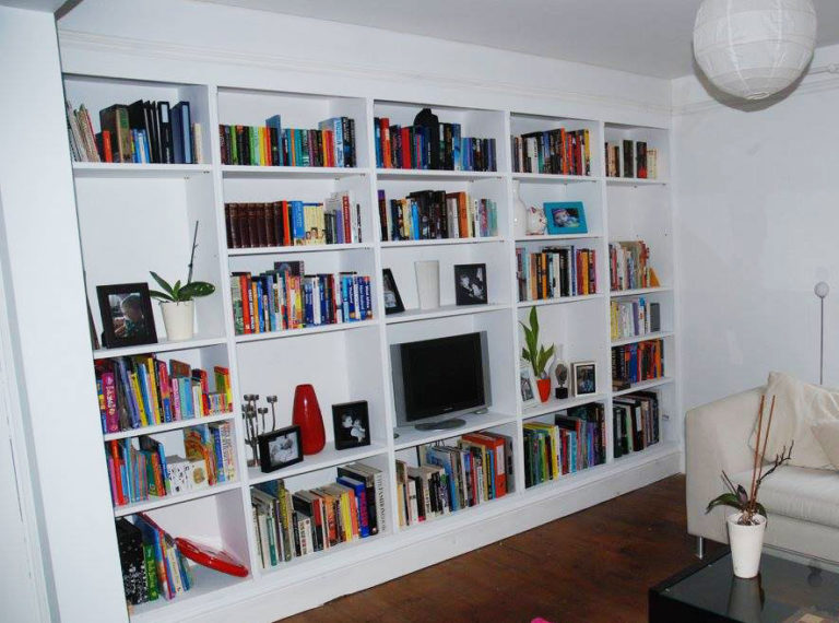 Full height bookcase / feature wall.