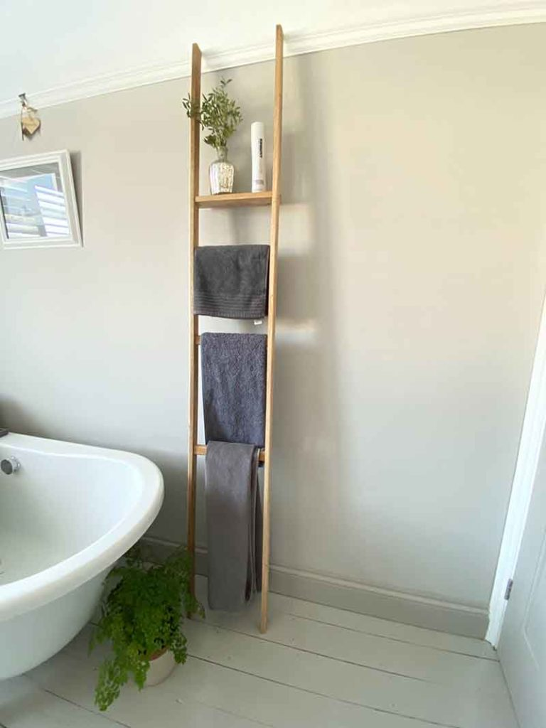 Towel rail made from recycled oak flooring.